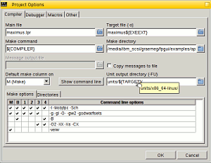 Maximus IDE's Project Options dialog